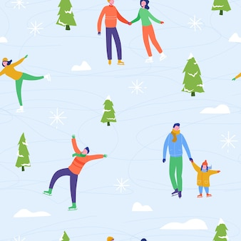 Winter season illustration background with people characters family ice skating. christmas and new year holiday seamless pattern for design, wrapping paper, invitation, greeting card, poster.
