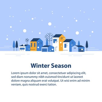 小さな町の冬の季節、小さな村の景色、雪の空、住宅の列、美しい近所、不動産開発、フラットなデザインのイラスト