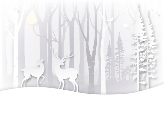Winter season landscape and christmas day concept.