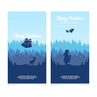 Winter season merry chrismas and happy new year design silhouette banner vector illustration