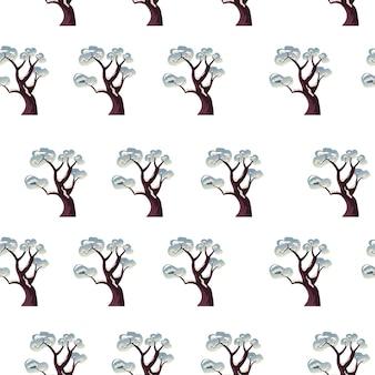 Зимний сезон природа и пейзажи, деревья, покрытые снегом на вершине. ветки растений после метели и снегопада. простой фон или печать на рождество. бесшовный узор, вектор в плоском стиле