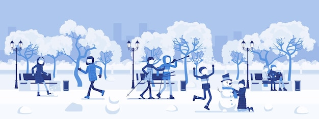 Winter season park zone. large public garden in snow, land area, fun, recreation, citizens enjoy open air activities, walk, ski, make snowman, play snowballs. vector illustration, faceless characters