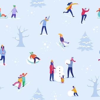 Winter season pattern with people skiing, ice skating, sledding