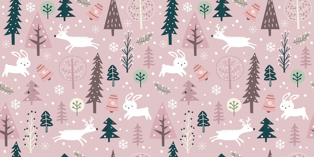 Winter season in seamless pattern for decoration