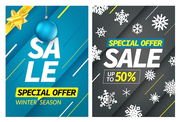 Winter season vertical sale special offer banner set