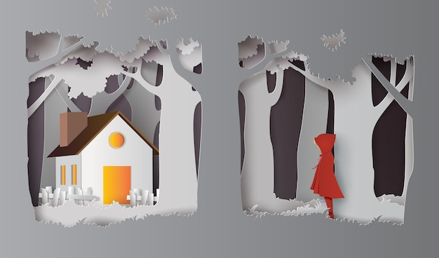 Winter season with the girl wear red topcoat in the forest.