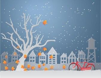Зимний сезон с оранжевыми листьями падают с деревьев и красный велосипед в саду