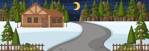 야간 가로 장면에 공원을 통과하는 도로가 있는 겨울 시즌