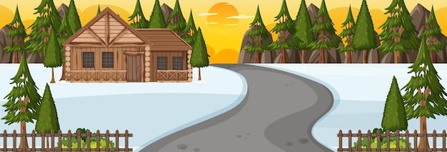 일몰 시간 가로 장면에서 공원을 통과하는 도로가 있는 겨울 시즌