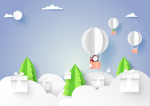 Winter season with santa claus and gift box paper art style.