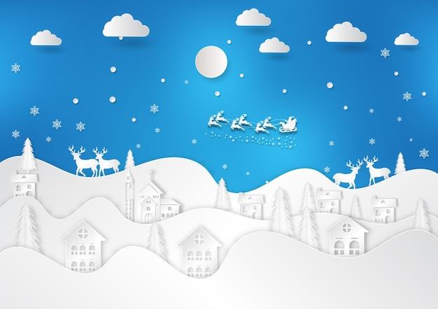 Winter season with snowflake and santa