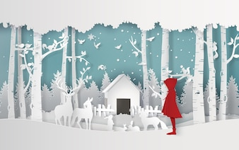 Winter season with the girl in red coat