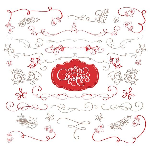Зимний набор каллиграфических элементов счастливого рождества разделители и новогодние украшения векторные надписи