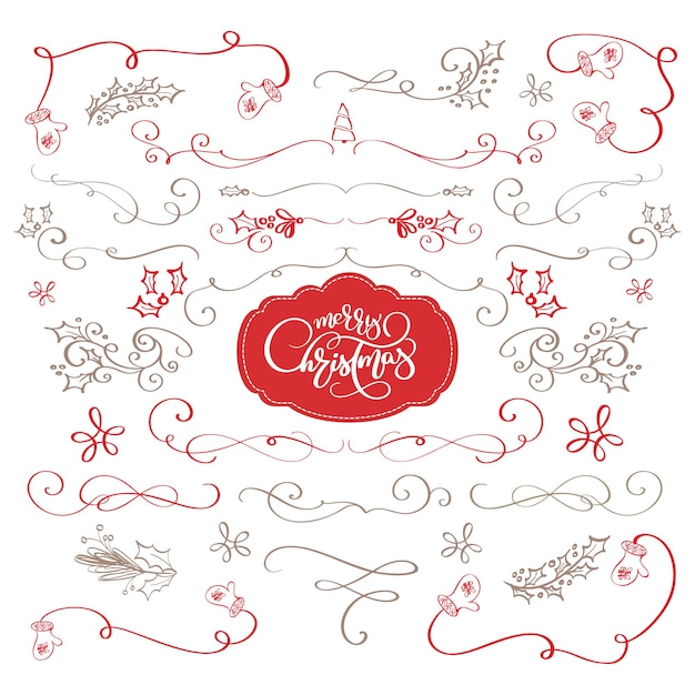 Winter set calligraphic elements merry christmas dividers and new year ornaments vector lettering