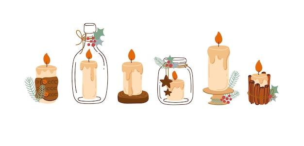 Зимний набор свечей с новогодним декором