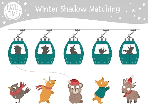 Winter shadow matching activity for children with animals in funicular cable cars.