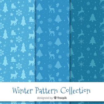 Winter silhouettes pattern collection