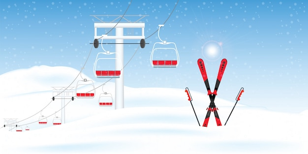 Winter ski resort with ski-lift moving winter landscape.