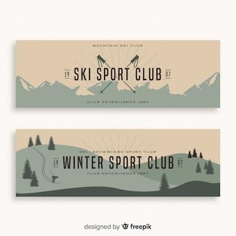 Winter ski sport club banners