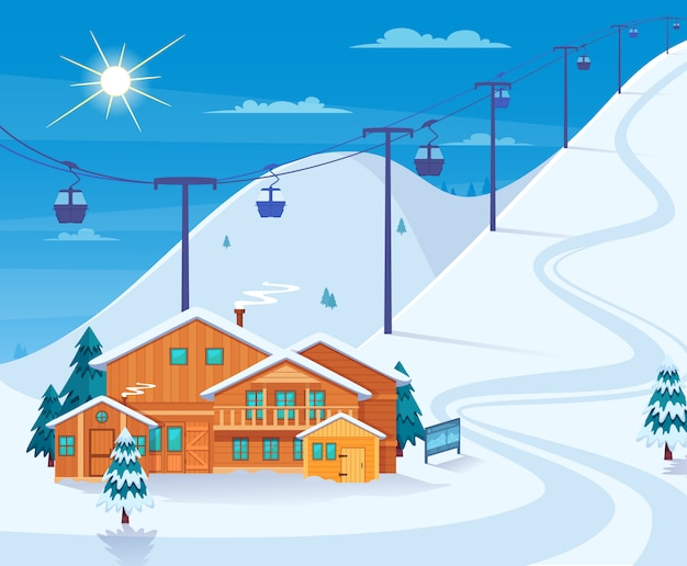 Winter skiing resort illustration