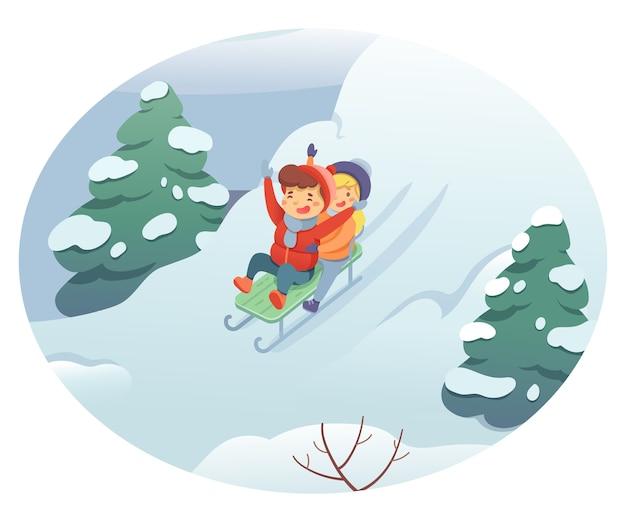 冬のそり、暖かい服を着た小さな男の子と女の子が丘を下って移動します。季節の野外活動、子供時代の娯楽。