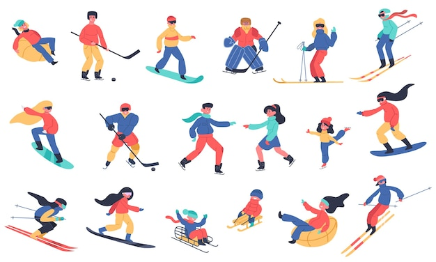 Winter snow activities. skiing, snowboarding, hockey and ice skates, family holiday winter activities   illustration icons set. ice hockey and board, snow extreme sport