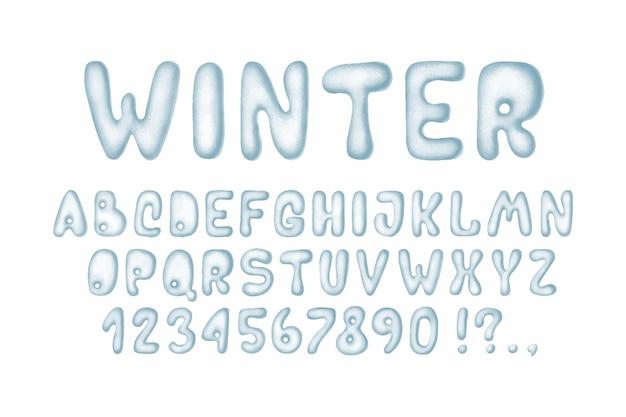 Winter snow alphabet, set hand drawn letters, cold font