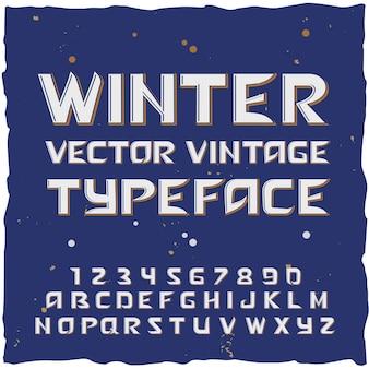 격리 된 문자와 숫자가있는 서체 편집 가능한 텍스트가있는 겨울 눈 알파벳