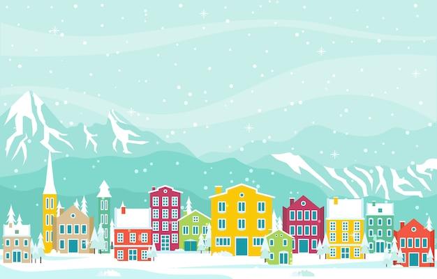 Winter snow in austria city cityscape skyline landmark building illustration