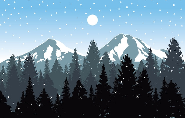 Winter snow background illustration mountain sky landscape