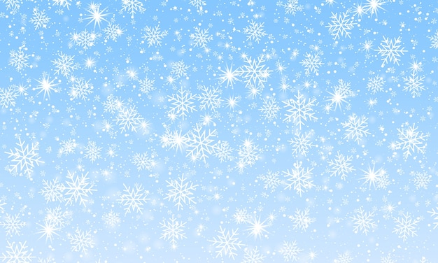 冬の雪の背景。降雪の空。クリスマスの背景。雪が降る。
