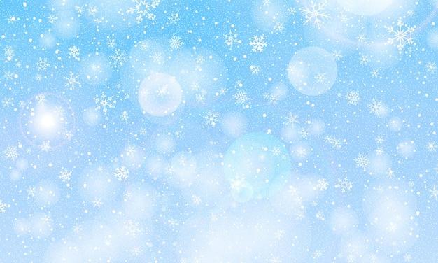 冬の雪の背景。ベクトルイラスト。降雪の空。クリスマスの背景。雪が降る。