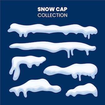 装飾要素テンプレートメディアに使用されるフラットデザインの冬の雪のキャップコレクションベクトル