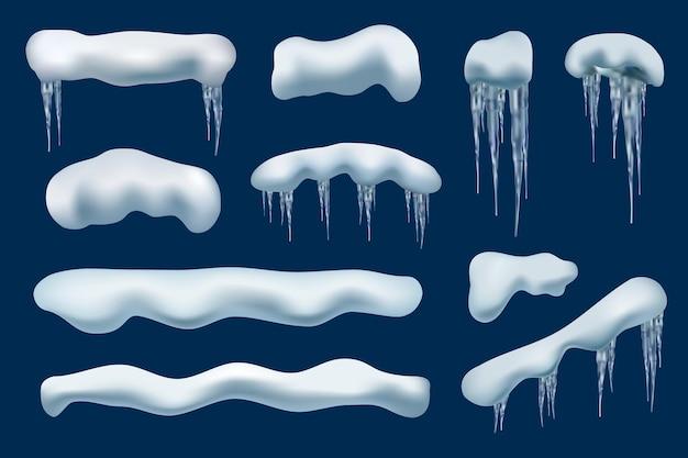 冬のスノーキャップ。屋根の装飾の凍った形のクリスマスの山のつららベクトル現実的なコレクション。イラストルーフアイス、スノーフロストキャップ、ウィンターフローズントップ