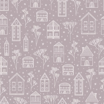 Winter snow cityscape seamless pattern with houses and trees.