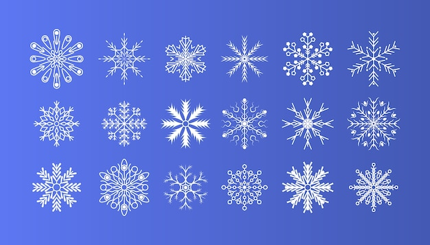 Winter snow flakes crystal element. christmas decoration. winter set of white snowflakes isolated on background. nice element for christmas banner, postcards.