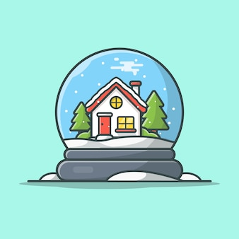 Winter snow globe  icon illustration