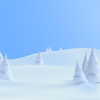 雪の吹きだまりと雪に覆われたモミの木のある冬の雪の丘の風景