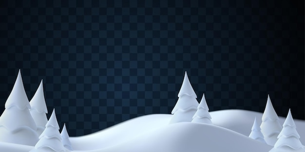 Winter snow hills landscape with snowdrifts and snowy fir trees