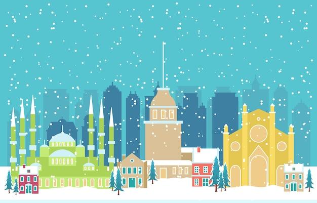 Зимний снег в стамбуле город городской пейзаж иллюстрация