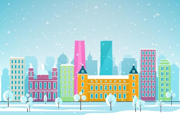 マドリード市の街並みのスカイラインのランドマークの建物図の冬の雪