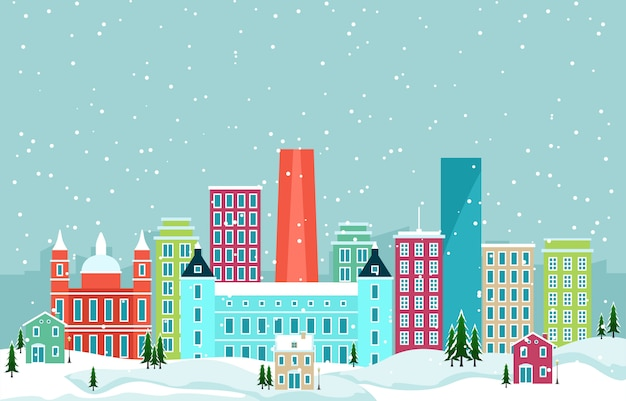 マドリード市の街並みのスカイラインのランドマークの建物図の冬の雪 Premiumベクター