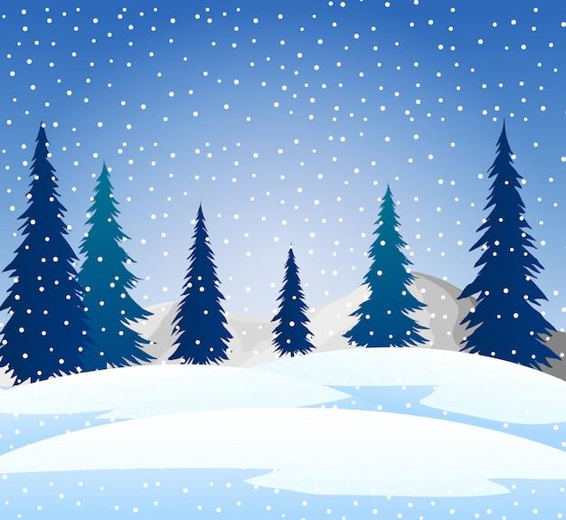 冬の雪の風景の背景とシルエットツリー