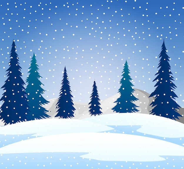 Winter snow landscape background and silhouette tree