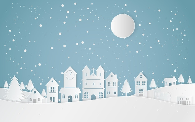 Winter snow landscape city happy new year and merry christmas, paper art and craft style.