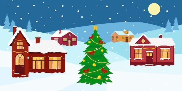 Зимний снежный пейзаж с домиками и украшенной елкой