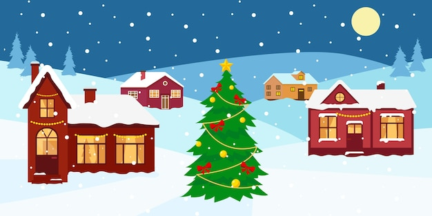 Winter snow landscape with houses and decorated christmas tree