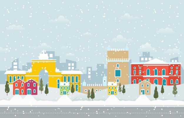 Winter snow in lisbon city cityscape illustration