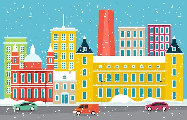 Winter snow in madrid city cityscape skyline landmark building illustration