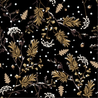 Winter snow in the night  flower seamless pattern vector